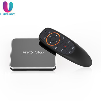 wholesale android quad core tv box 4k amlogic s905x2 h96 max x2 4gb ddr ram 32gb android set top box with voice remote
