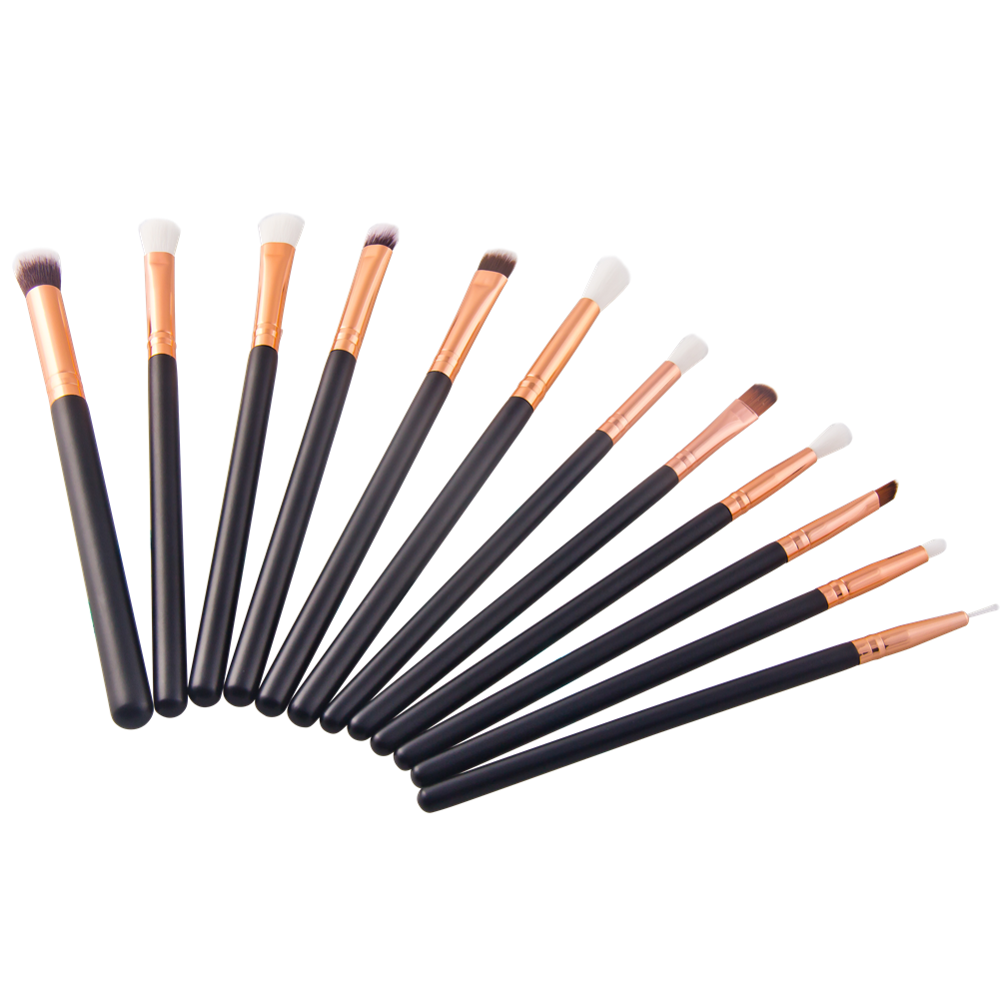 Factory Price 12pcs pink eyeshadow eyeliner makeup brush set