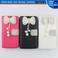 Hot Sale Leather Flip Cover For Samsung For Note 3 N9006 Lichee Pattern Case Pearl Bowknot Flip Case For Galaxy for Note 3