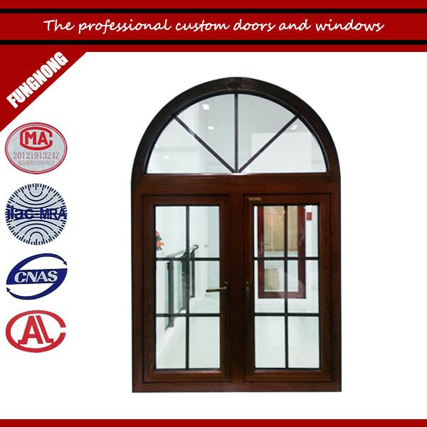 High quality arched aluminium wooden windows for house