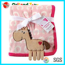 3D animal shaped embroidery baby plush blanket