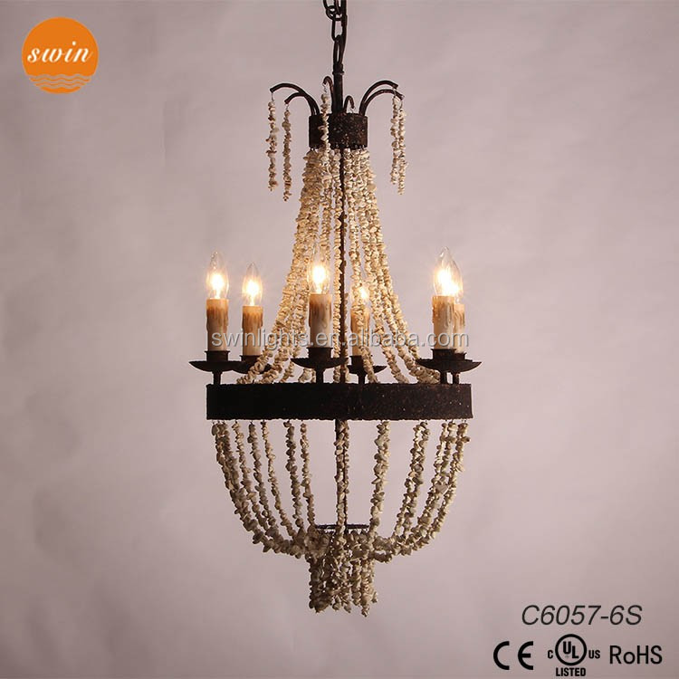 China supplier vintage chandeleir 6-lights wrought iron pendant lighting C6057-6S