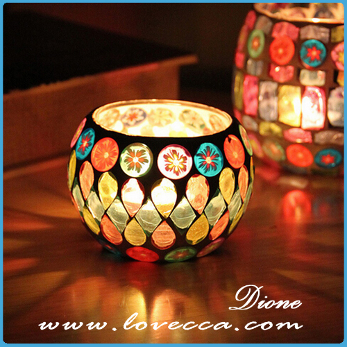 Round mosaic glass cup candle,flower design colorful mosaic glass cup for party decor