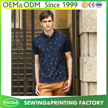 New fashion mens gent 100% polyester breathable dot printing polo shirt wholesale