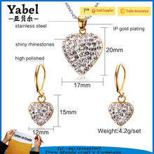 Shamballa Earrings Heart Pendant Necklace 18k Gold Plated Jewelry Set