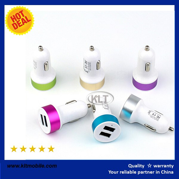 KLT- hot sale AU UK US Colorful car usb charger 5V 1A wholesale for cell phone charger