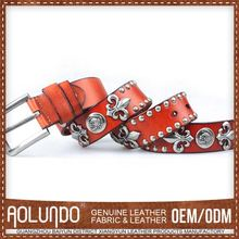 Price Cutting Custom Tag Leather Women Belts Fancy Ornament