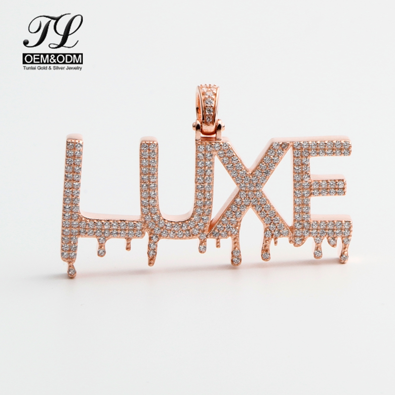 Rose Gold Jewelry Custom <strong>Pendant</strong> Initial Alphabet Bubble Drip Iced Out Letter HipHop Jewelry <strong>Pendant</strong>