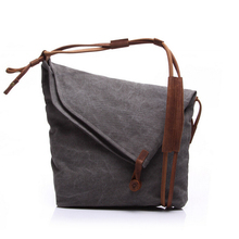 stylish waxed canvas messenger bag with shouder leather