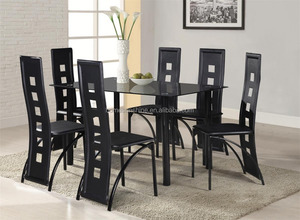 7-Piece Dining Room Set Furniture Glass Top Metal Table and Chairs