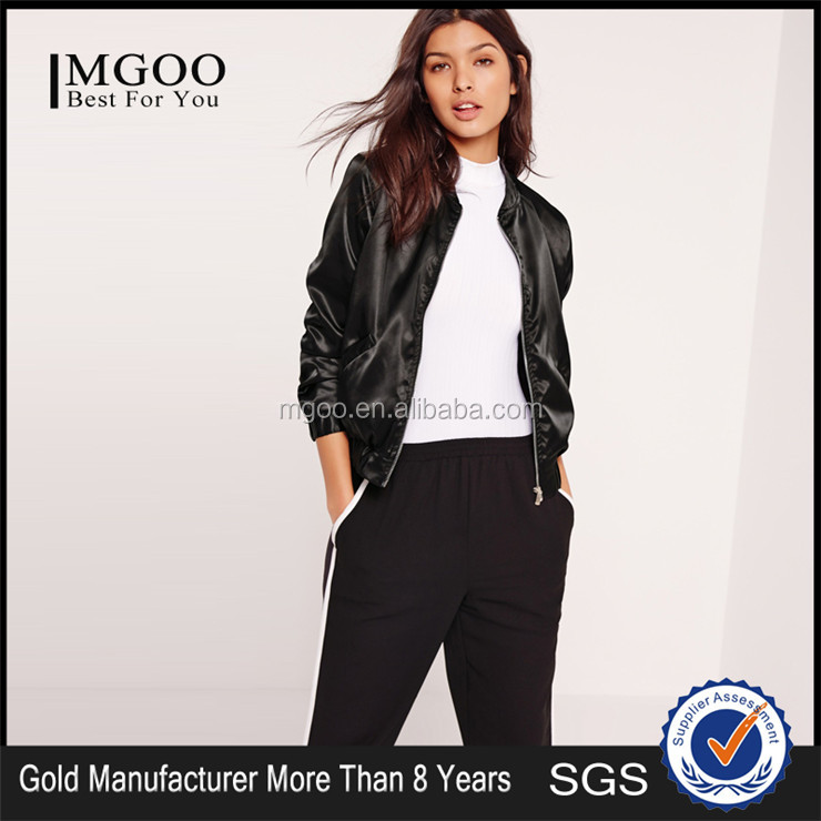OEM Service Women Satin Bomber Jacket Black Plain Black Thin Sport Jacket Spring Coat Outwear