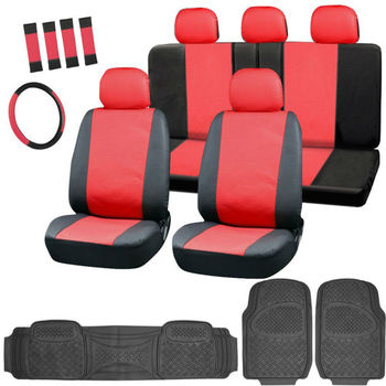 17pc Leatherette Seat Covers w/ Black Rubber Mats for Car/Truck/Van/SUV, Red & Black
