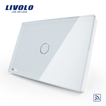 Livolo Ivory White Crystal Glass Pane 110~250V/50~60Hz US/AU Wireless Remote Control Home Wall Light Switch VL-C301R-81