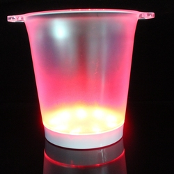New design glowing LED color changing ice bucket with plastic material for night