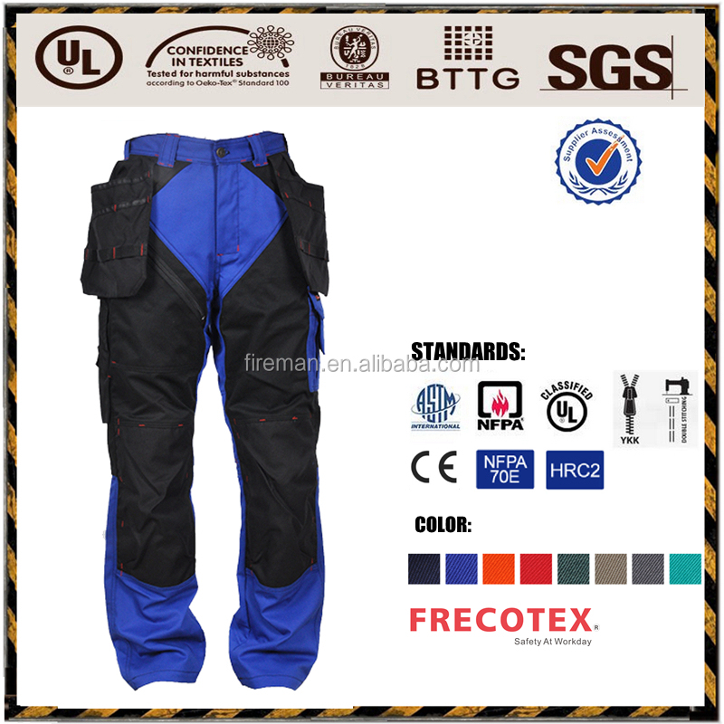 Industry workwear pants trousers EN11612 cotton fire retardant antistatic protective safety clothing for petroleum industry