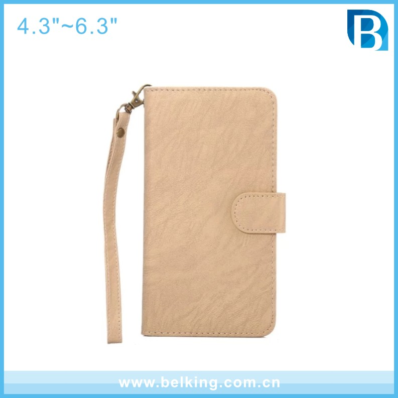 4.7inch-6.3inch Da Vinci pattern simply univeral leather flip cell phone case mobile bag with strap