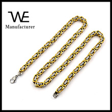 Stainless Steel Gold Plated Long Byzantine Chain Necklace 24 Inch