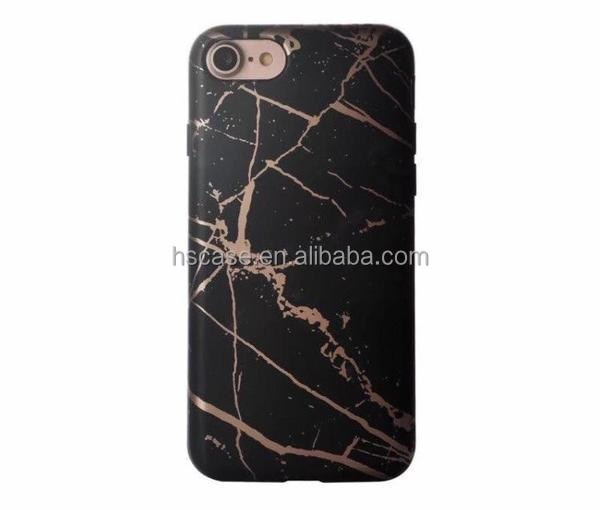 Hot Gold Stamping Black Rose Gold Chrome Marble Phone Case For iphone 6 6s Plus 7 7Plus Luxury High Quality Thick TPU Cover