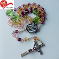 Glass crafts religious rosary bead long chain cross pendant necklace