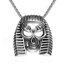 SJGMYN022 Vintage Egyptian Pharaoh Skull Head 316L Stainless Steel Punk Pendant Necklace