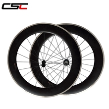 CSC China Alloy Braking Track Carbon Aluminium Bicycle Wheel 700C 80mm Depth Clincher Wheelset