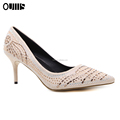 2018 New fashion big size colorful Rhinestone pump shoes sexy low heel dress shoes PL1105