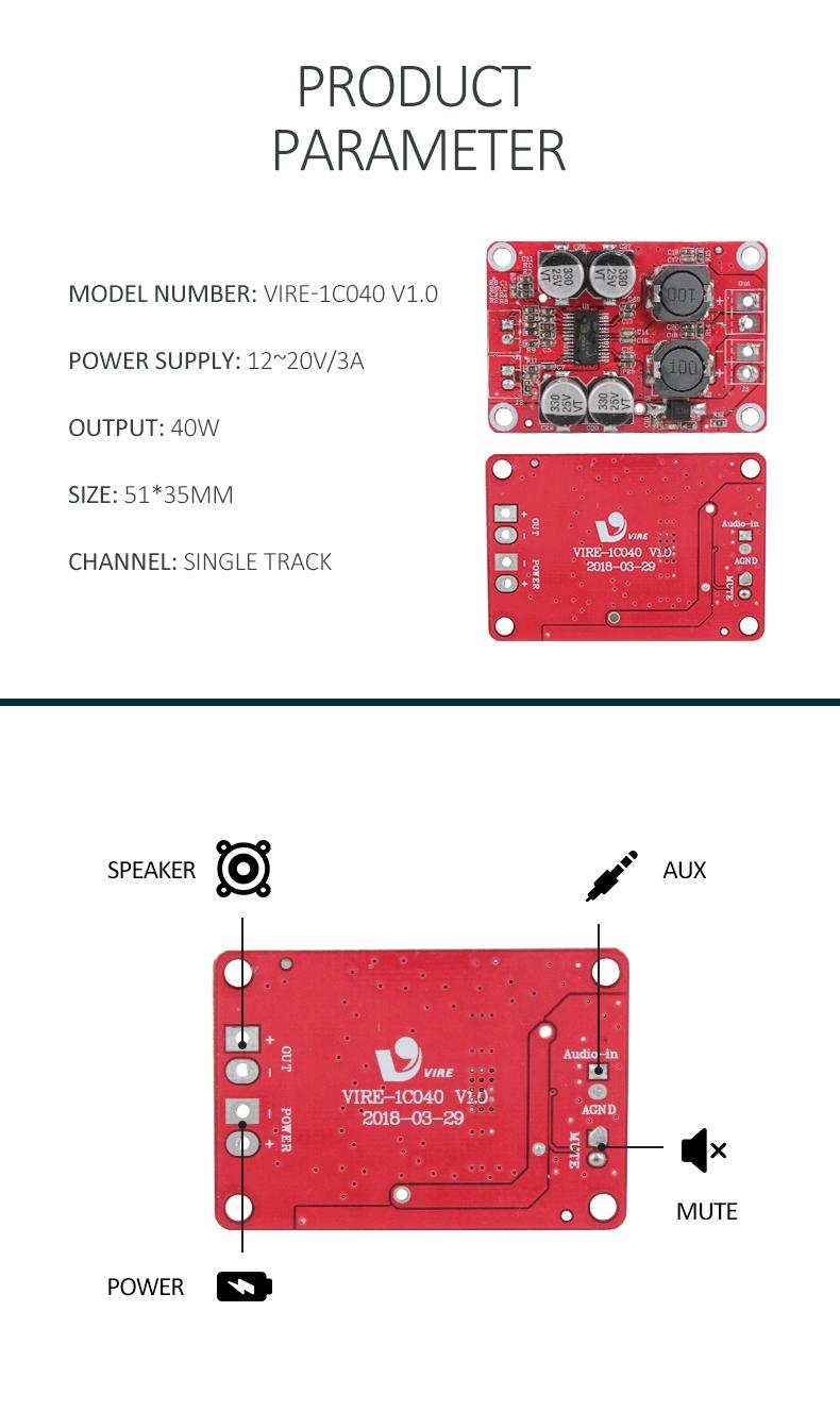 Ht 317 Class D Digital Amplifier 40w Mono Power Audio A Circuit Pcb Board Module