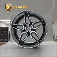 ZUMBO A0076 Black Machine Face With Chrome Stainless Steel Lip Car Alloy Wheel Rims