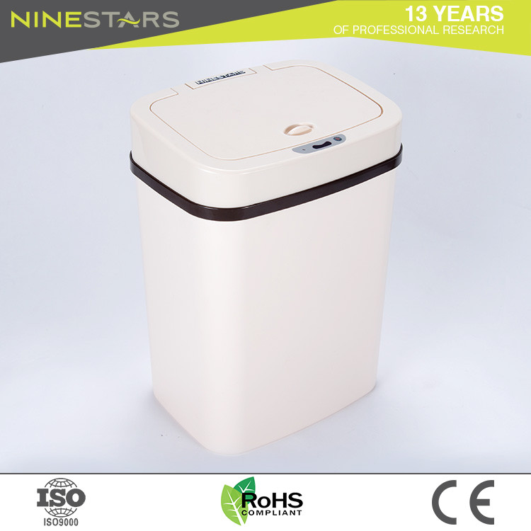 Ninestars Square Shape Plastic 12 Liter Yellow Small Bathroom Trash Can