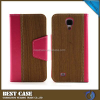 Wood design wallet case for samsung galaxy s4 cellpone cover for galaxy s4 i9500 flip can stand