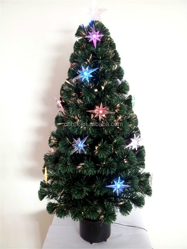Yiwu Wholesale North Star Decoratived Green Artifical Tree, Optical Fiber LED Christmastree Fireworks Lights