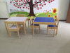 Kids Table and Chairs Set White Wood Children's Set with One Table and 2 Chairs Great for Playing Learning