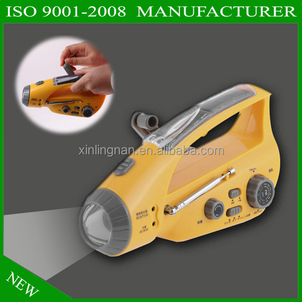 2016 new and hot portable wholesale solar powered led flashlight radio + Mobile Charger + SOS Alarming