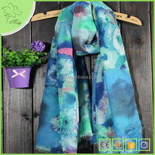 Yiwu Market Chinese Ink Paintings Denim Yong Christmas Scarf Wholesale