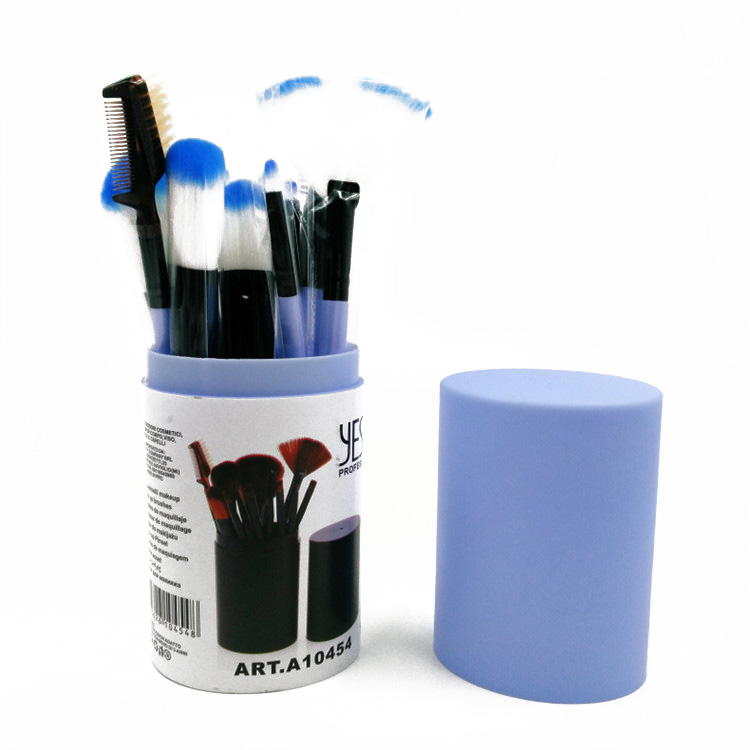 A10454 12 Pcs Women Professional Blue Plastic Holder Makeup Blush Brush Kits