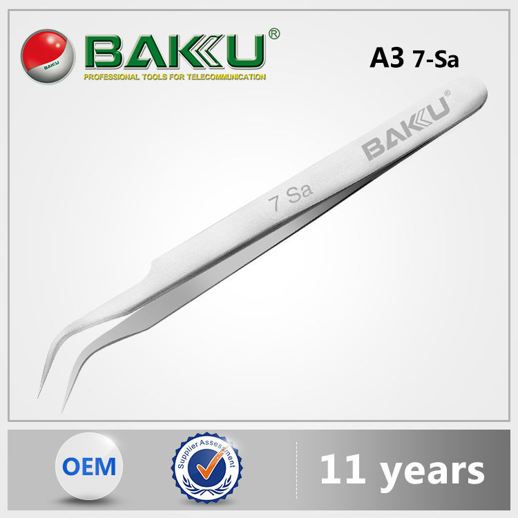 BaKu Wholesale Promotional Stainless Anti-Magnetic Anti-Acid Not-Corrosive Curved Ceramic Tip Stainless Steel Tweezers