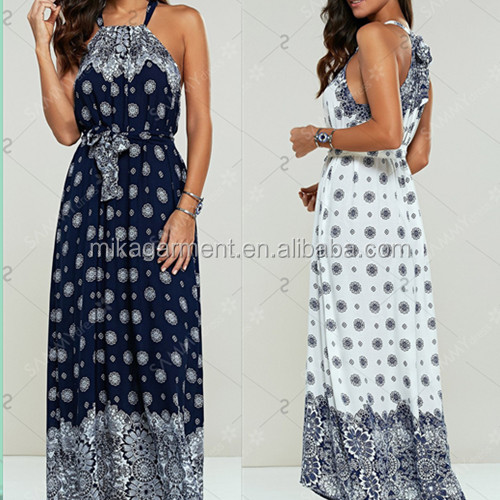 MIKA72080 2017 Fashion Customized Printed Bohemian Clothing Maxi Halter Dress For Women