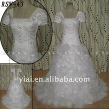 RSW43 Factory Outlet Lastest Beautiful Embroidery Body Handmade Organza Flowers Skirt Real Excellent Custom Wedding Dress