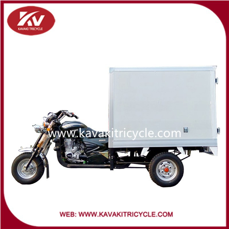 2016 Chinese three wheel motorcycle with good quality closed cargo box 200cc air cooled engine cheap price for sale