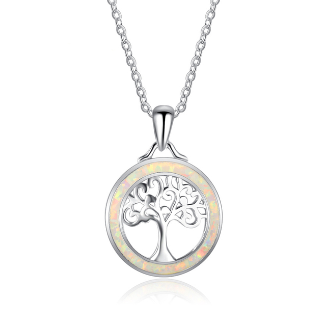 Jewellery Shopping Online Necklace Silver 925 New Life Tree Opal Pendant NecklaceFriend Necklaces Gift