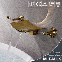 Mlfalls Wall mounted kaiping faucet,double handle bathroom taps,gold plated bidet water mixer