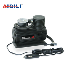 Excellent quality micro powerful black OEM 12v 250psi inflatable boat pump car tyre air inflators with gauge