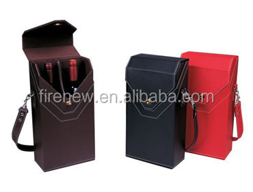 PU Leather Double Bottles Wine Carrier