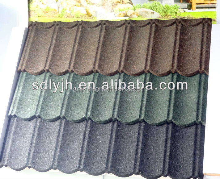 Alum-zinc 0.42mm thickness Classical Color stone metal roof tile