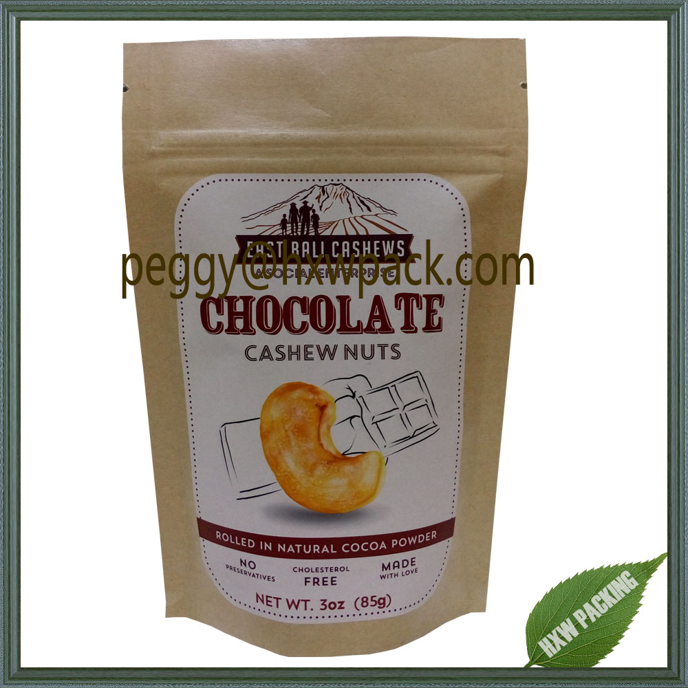 Food grade kraft paper cashew nuts packaging bags, resealable ziplock recycle kraft paper mixed nuts bags