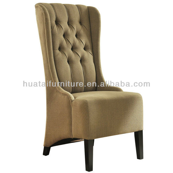 Classic Design High Back Fabric Dining Chair Lounge Countryside Kitchen Chair Elegant Solid Wood Fabric Hotel Coffee Chair