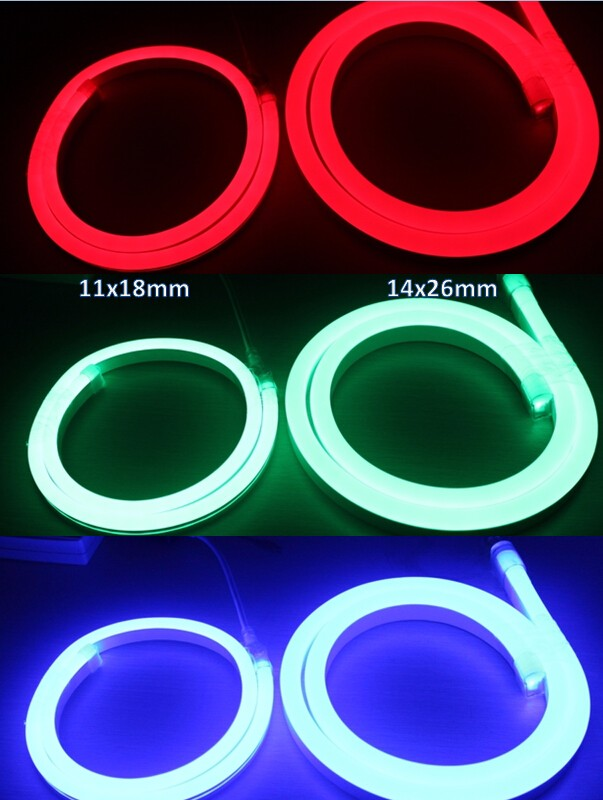 High brightness 11x19mm SMD 5050 RGB led ultra thin neon flex rope light Flat surface with DMX controller