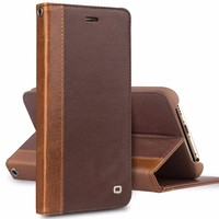 QIALINO Drop Shipping Case, Full Grain Genuine For iPhone 6 Case Leather Wallet Stand Cover For iPhone6 plus