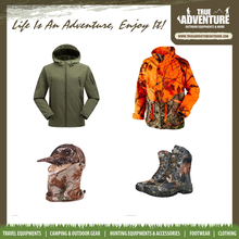 Outdoor hunting equipment, True adventure all camo clothing shoes hat hunting accessories in stock