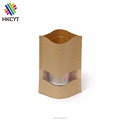 Recycled Plain Brown Kraft Stand Up Pouch with Clear Window